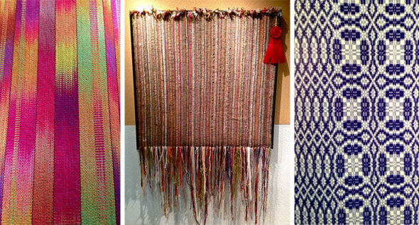 Woven work on display in the hallway