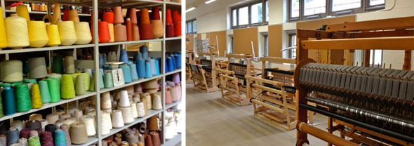 In the fiber studio, looms and colorful yarns
